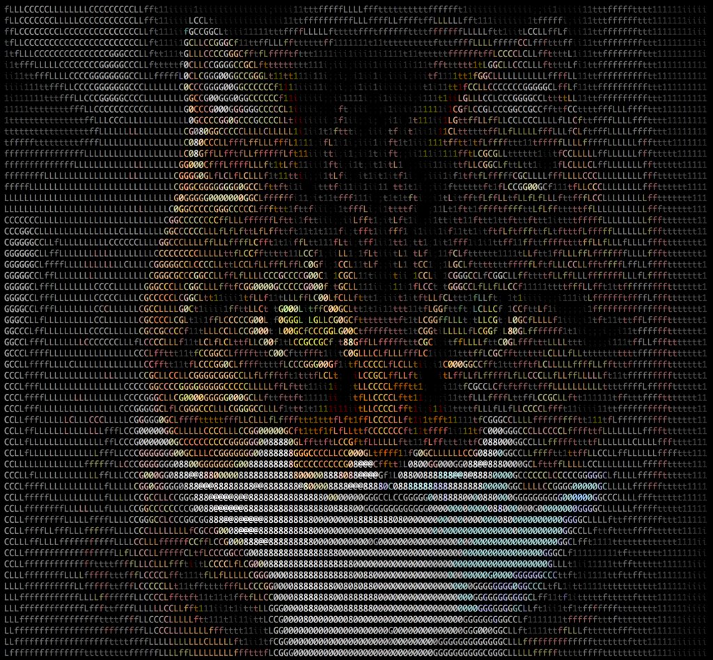 ASCII Cat with Black Background