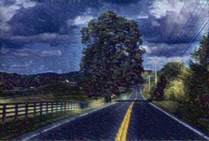 Prisma Image of a road with starry night filter