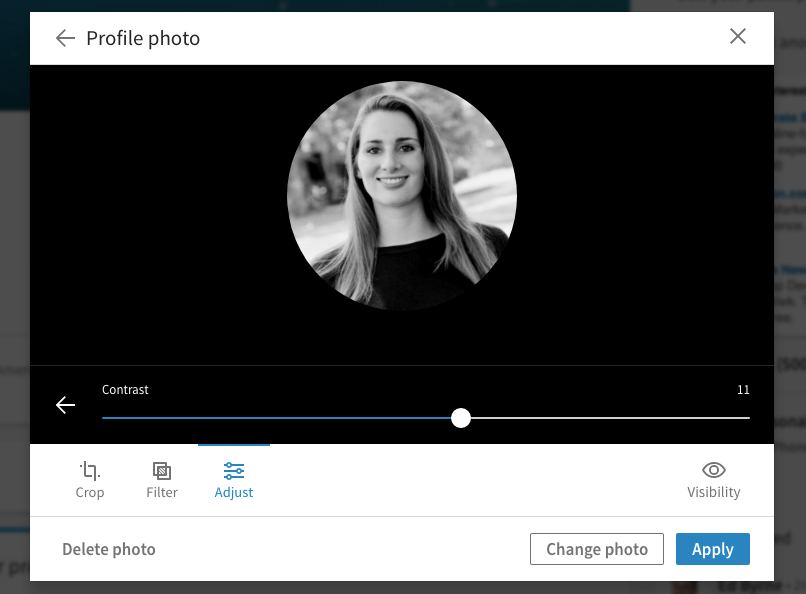 LinkedIn Photo Filters Monochrome