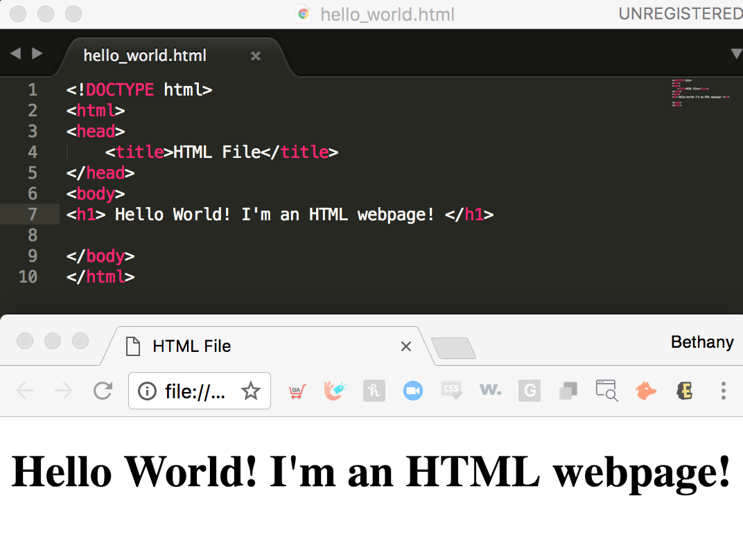 HTML Example on Sublime and In Browser