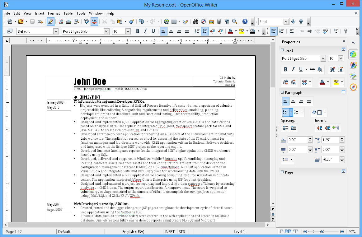 ODT Example on OpenOffice