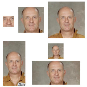 various image sizes using Filestack's Facial Recognition