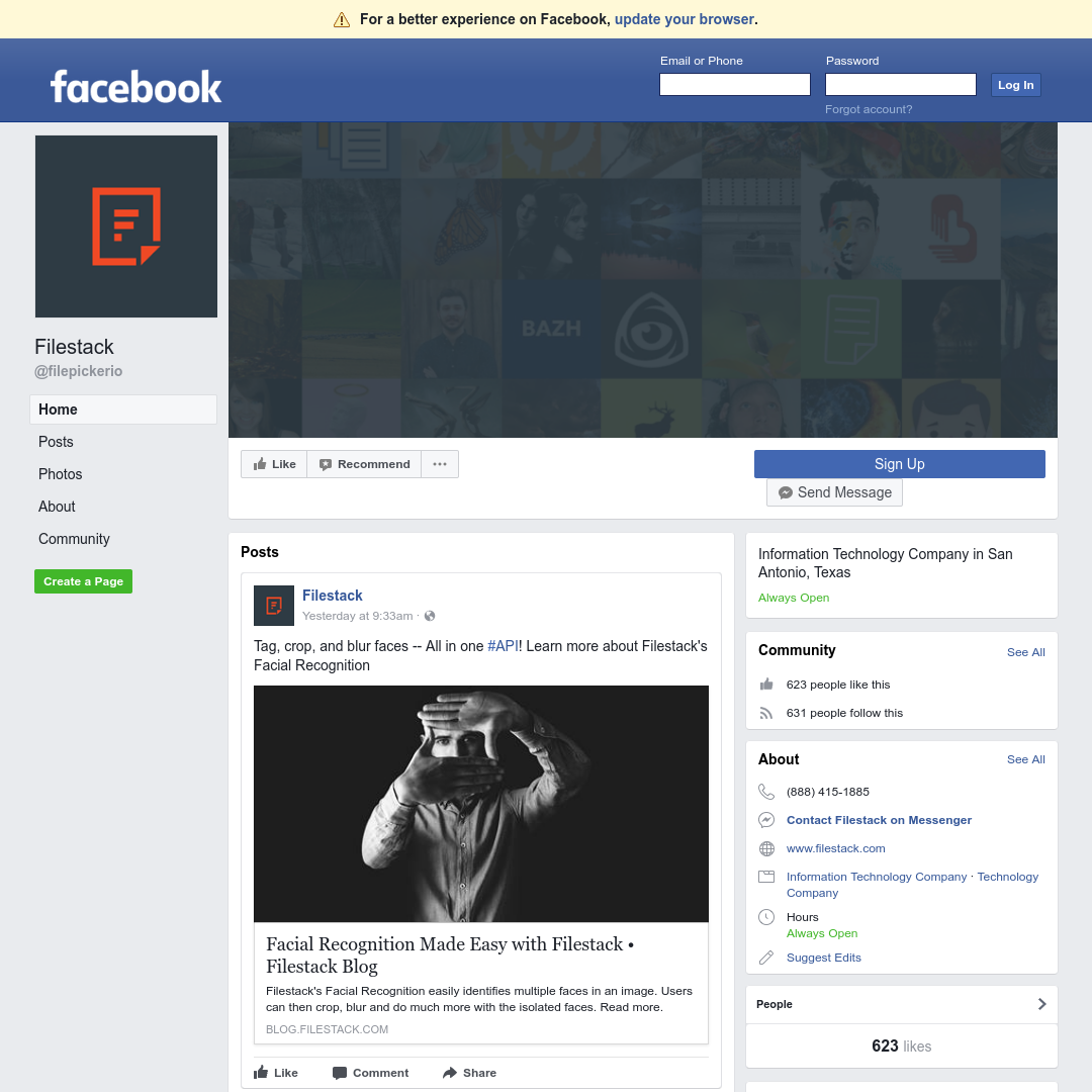 A website screenshot of Facebook
